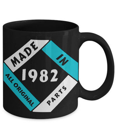Image of Made in 1982 Birthday Black Mug Gift Fun All Original Parts Unique Novelty Celebration