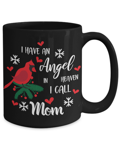 Mom Angel in Heaven Cardinal Black Mug Gift In Loving Memory Mother Coffee Cup