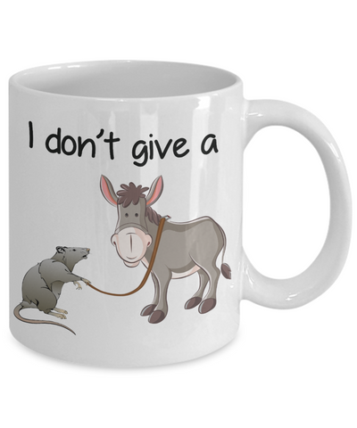 Image of Novelty Birthday Gifts Mug for Men Women I Don't Give a Rat's Ass Funny Humor Quotes Unique Work Coffee Cup Dad Mom Grandpa