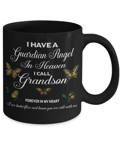 Grandson Guardian Angel Memorial Black Mug Gift Remembrance Novelty Coffee Cup