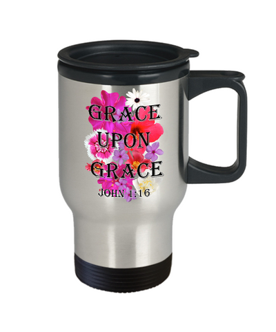 Image of Grace Upon Grace John 1:16 Travel Mug With Lid Faith Gift Scripture Bible Verse Coffee Mug Gifts