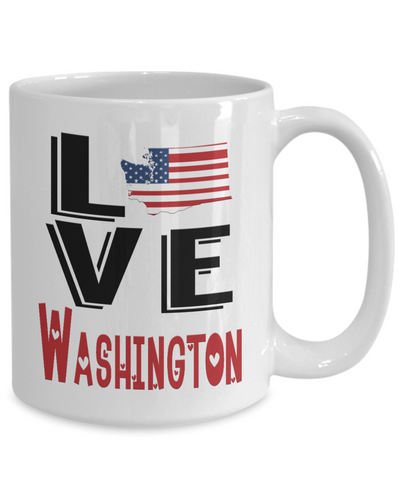 Image of Love Washington State Mug Gift Novelty American Keepsake Coffee Cup