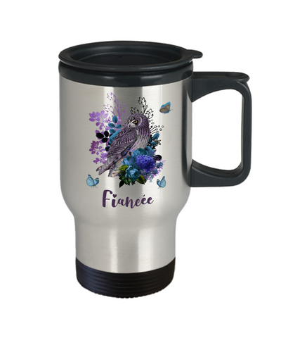 Fiancée Owl Travel Mug Gift Floral Butterfly Coffee Cup