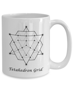 Sacred Geometry Coffee Mug Gifts Tetahedron Grid Ceramic Cup