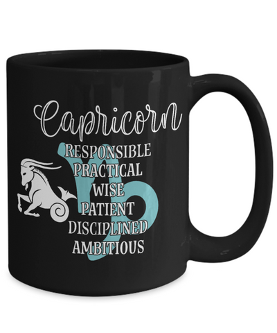 Capricorn Zodiac Black Mug Gift Fun Novelty Birthday Coffee Cup