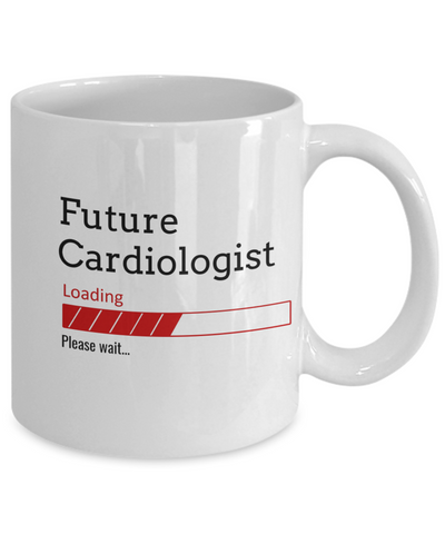 Image of Funny Future Cardiologist Loading Please Wait Ceramic Coffee Mug Doctors In Training Gifts for Men and Women