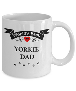 World's Best Yorkie Dad Cup Unique Yorkshire Terrier Dog Ceramic Mug Gifts for Men
