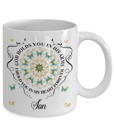 Son In Loving Memory Mug Memorial Turquoise Butterfly Mandala God Holds You in His Arms Mandala Cup