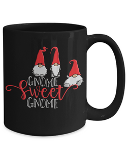 Gnome Sweet Gnome Lover Black Mug Gift Fun Novelty Coffee Cup