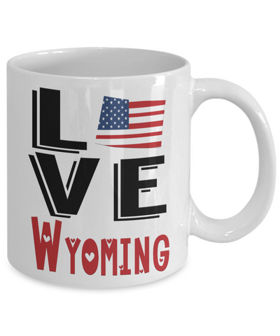 Image of Love Wyoming State Mug Gift Novelty American Keepsake Coffee Cup