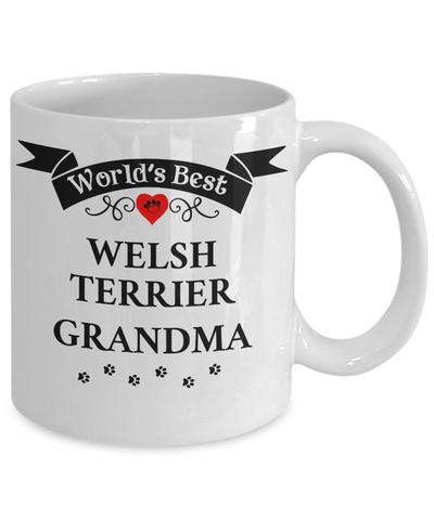 Image of World's Best Welsh Terrier Grandma Cup Unique Ceramic Dog Coffee Mug Gifts for Women