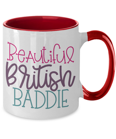 Beautiful British Baddie Mug Two-Toned Ceramic Coffee Cup