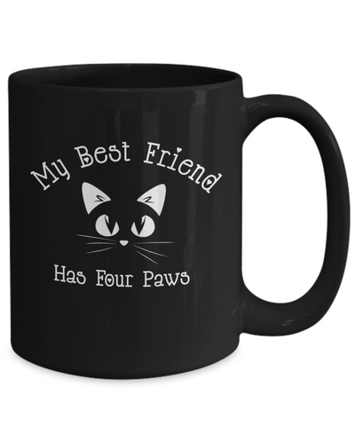 Image of Best Friend Has Four Paws Fun Cat Heartbeat Mom Dad Lover Novelty Birthday Gifts