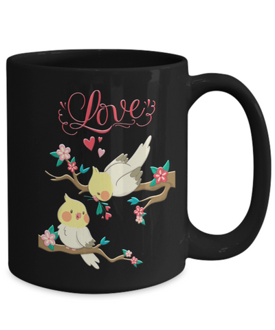 Image of Lovebirds Black Mug Gift Love You Surprise Her on Valentine's Day Birthday Novelty Cup