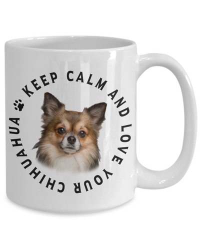 Image of Keep Calm and Love Your Chihuahua Ceramic Mug Gift for Dog Lovers