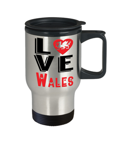 Image of Love Wales Travel Mug Gift Novelty Welsh Keepsake Coffee Cup