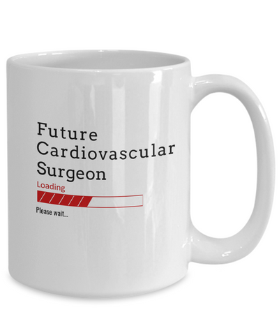 Image of Funny Future Cardiovascular Surgeon Loading Please Wait Ceramic Coffee Mug Doctors In Training Gifts for Men and Women