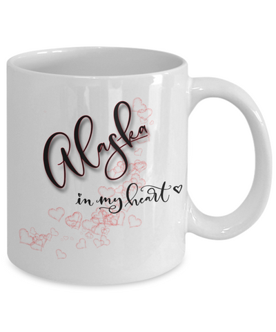 Image of State of Alaska in My Heart Mug Patriotic USA Unique Novelty Birthday Christmas Gifts Ceramic Coffee Tea Cup