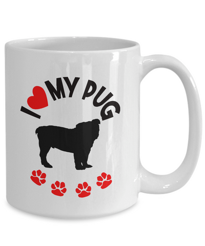 "Image of Gift for Pug Dog Lovers, ""I Heart My Pug"" Fun Novelty Gift for Pug Dog Lovers"