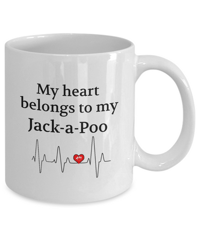 Image of My Heart Belongs to My Jack-a-Poo Mug Dog Lover Novelty Birthday Gifts Unique Work Ceramic Coffee Gifts for Men Women