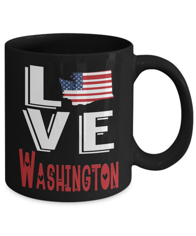 Image of Love Washington State Black Mug Gift Novelty American Keepsake Coffee Cup