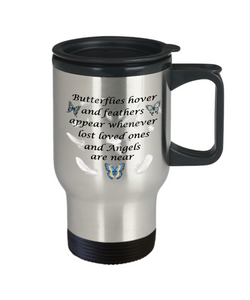 Memorial Gift Travel Mug Butterflies hover and feathers appear..Remembrance Mug