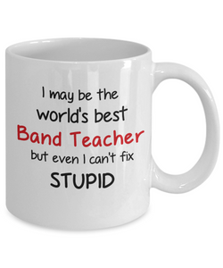 Band Teacher Occupation Mug Funny World's Best Can't Fix Stupid Unique Novelty Birthday Christmas Gifts Ceramic Coffee Cup