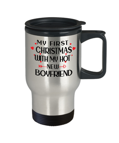 My First Christmas With My Hot Boyfriend Travel Mug Gift for Girlfriend Novelty Coffee Cup