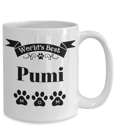 Image of World's Best Pumi Dog Mom Mug Fun Novelty Birthday Gift Work Coffee Cup
