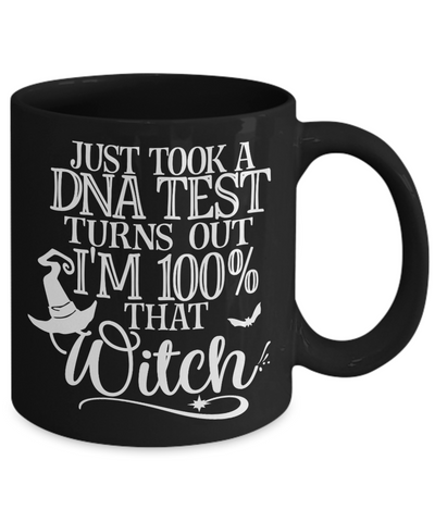 Funny Halloween 100% Witch DNA Black Mug Gift Spooky Haunted Novelty Coffee Cup