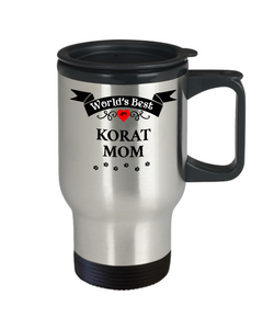 World's Best Korat Mom Cat Cup Unique Travel Coffee Mug With Lid Gift for Women