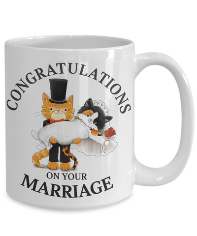 Congratulations Marriage Cat Mug Gift Wedding Mr & Mrs Fur Lovers Novelty Cup