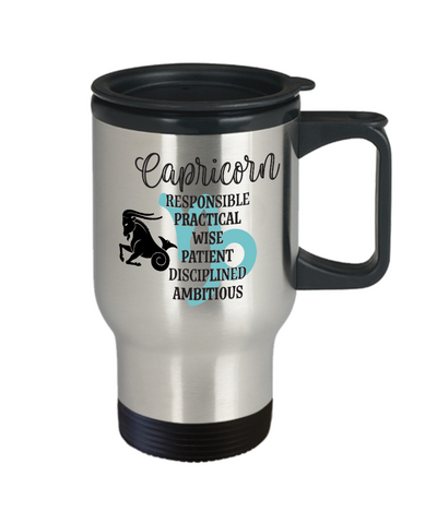 Image of Capricorn Zodiac Travel Mug Gift Fun Novelty Birthday Coffee Cup