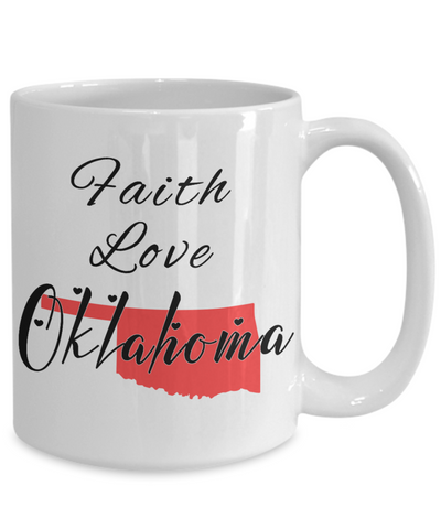Image of Patriotic USA Gift Mug Faith Love Oklahoma Unique Novelty Birthday Christmas Ceramic Coffee Tea Cup