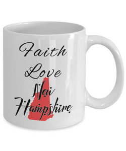 Patriotic USA Gift Mug Faith Love New Hampshire Unique Novelty Birthday Christmas Ceramic Coffee Tea Cup