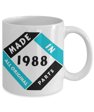 Image of Made in 1988 Birthday Mug Gift Fun All Original Parts Unique Novelty Celebration