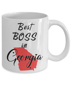 Best Boss in Georgia State Mug Unique Novelty Birthday Christmas Gifts Ceramic Coffee Cup for Employer Day