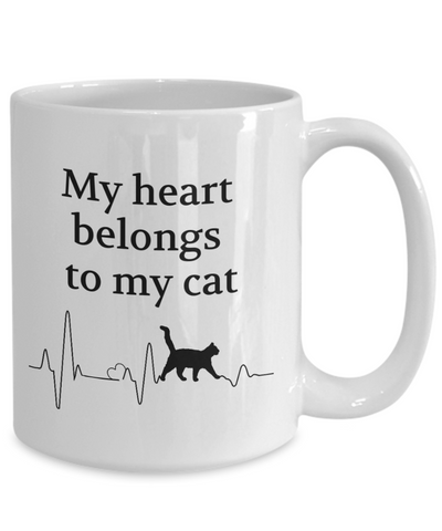 Image of My Heart Belongs to My Cat Mug Animal Lover Novelty Birthday Gifts Unique Gifts