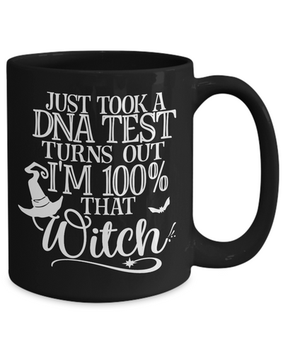 Image of Funny Halloween 100% Witch DNA Black Mug Gift Spooky Haunted Novelty Coffee Cup