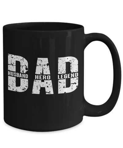 Dad Husband Hero Legend Black Coffee Mug Gift For Birthday Father's Day Cup