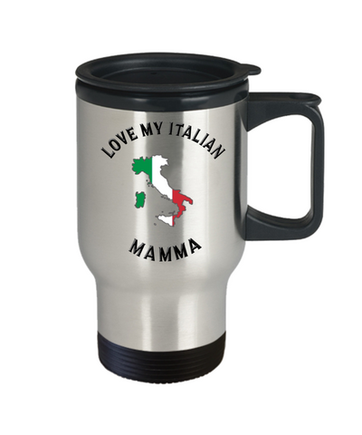 Image of Love My Italian Mamma Travel Mug With Lid Novelty Birthday Gift Coffee Cup