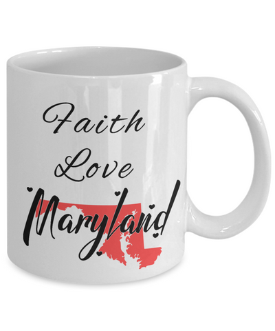 Image of Patriotic USA Gift Mug Faith Love Maryland Unique Novelty Birthday Christmas Ceramic Coffee Tea Cup