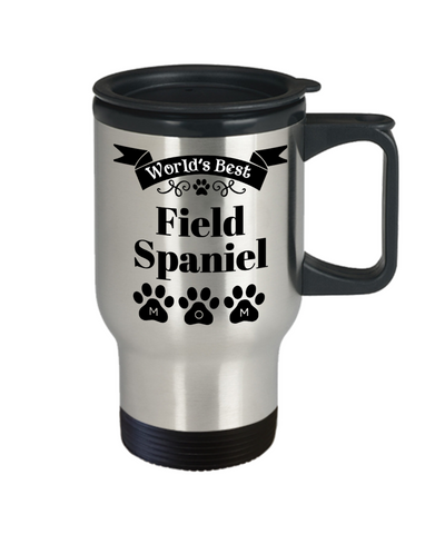 Image of World's Best Field Spaniel Dog Mom Insulated Travel Mug With Lid Fun Novelty Birthday Gift Work Coffee Cup