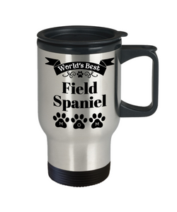 World's Best Field Spaniel Dog Mom Insulated Travel Mug With Lid Fun Novelty Birthday Gift Work Coffee Cup