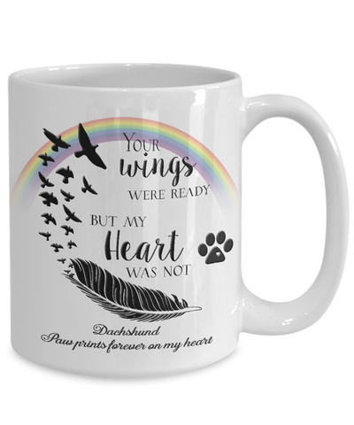 Image of Dachshund  Bereavement Memorial Gifts Your Wings Were Ready...Dachshund Remembrance Gift
