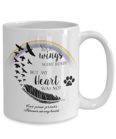 Image of Cat Memorial Gifts Your Wings Were Ready...Cat paw prints Cat Bereavement Gifts