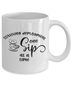 Surviving Deployment One Sip At A Time Mug Military USAF Navy Coffee Cup Gifts Homecoming