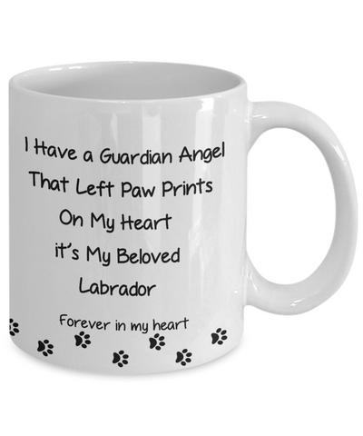 "Image of Pet Remembrance, ""I Have a Guardian Angel in Heaven, Labrador Dog memorial gift"