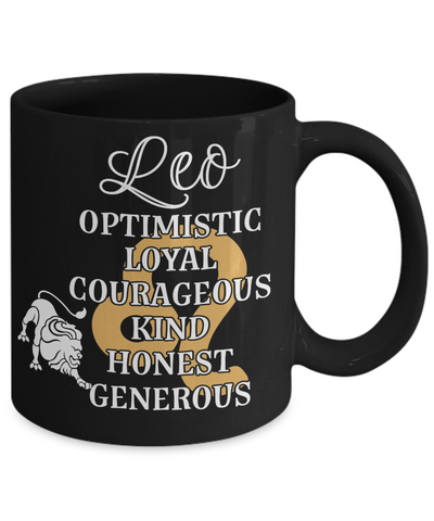 Leo Zodiac Black Mug Gift Fun Novelty Birthday Coffee Cup