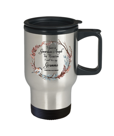 Image of In Remembrance Gift Mug Guardian Angel in Heaven I Call Her My Gramms in Memory Travel Coffee Cup
